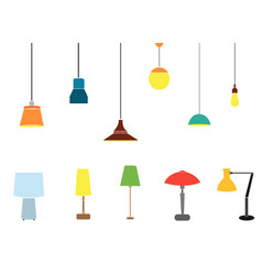 a set of electric lamps vector image