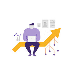 Abstract man sitting on a line graph vector