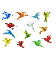Abstract origami hummingbirds design elements vector image