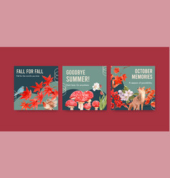 advertise template with autumn forest and animals vector image