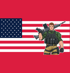 American soldier background vector