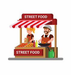 asian street food vendor cartoon vector image