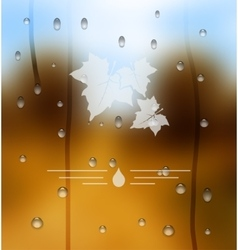 Autumn blurred background as a glass with vector image