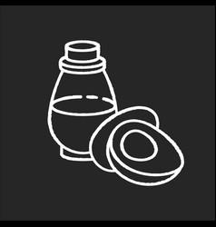 Avocado oil chalk white icon on black background vector