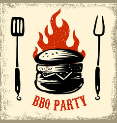 Bbq party hand drawn burger on grunge background vector