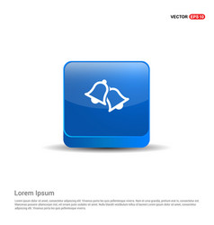 bell icon - 3d blue button vector image