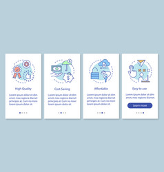 Benefits technology onboarding mobile app page vector
