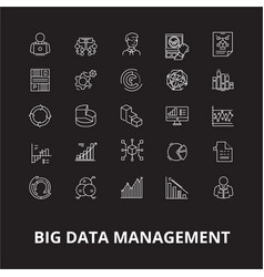 big data management editable line icons set vector image