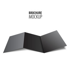 blank trifold paper black brochure mockup isolated vector image