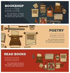 Bookshop or bookstore banners library vector