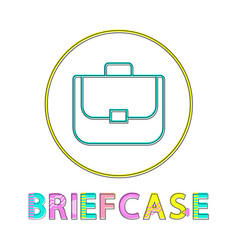 briefcase bright linear round web icon template vector image