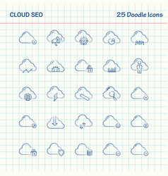Cloud seo 25 doodle icons hand drawn business vector
