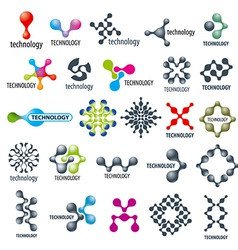 collection of different technological logos vector image