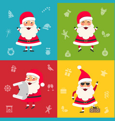collection santa clauses christmas cheerful happy vector image