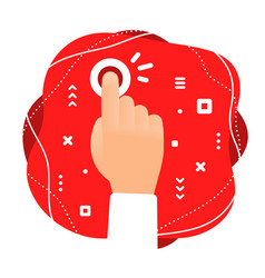 creative color of human hand touching a red vector image