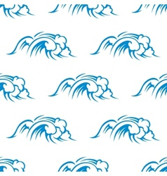 Curling breaking waves seamless pattern vector image