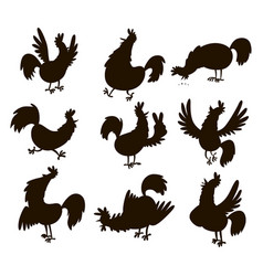 Cute cartoon rooster silhouette vector