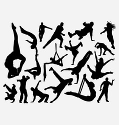 Dance and acrobat silhouette vector