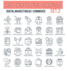 Digital marketing and e-commerce outline icons vector