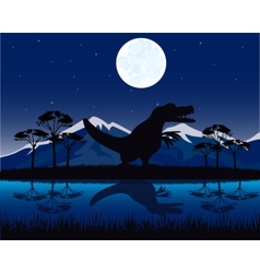 Dinosaur on nature vector image