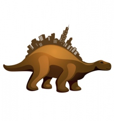 dinosaur with buildings vector image