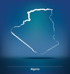 Doodle Map of Algeria vector