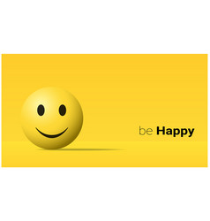 Emotional background with happy yellow face emoji vector