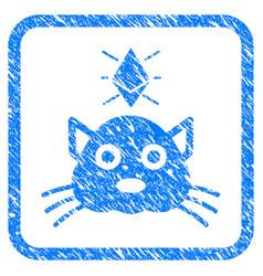Ethereum crypto kitty framed stamp vector