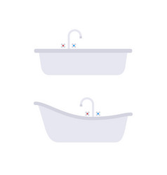 Flat gray set of classical and modern bath vector