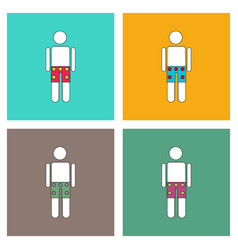 flat icon design collection man in underwear cloth vector image
