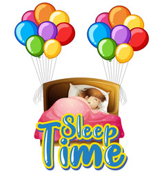 Font design for word sleep time with girl in bed vector