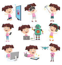 girl doing various activities vector image