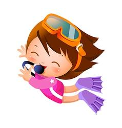Girl snorkeling vector