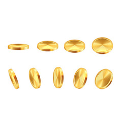 Golden coin realistic gold cash 3d blank vector