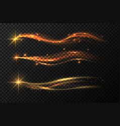 Golden star trail magic gold stardust with vector