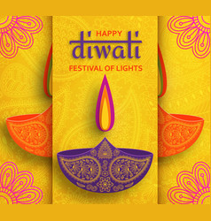 Greeting card for diwali festival celebration in vector