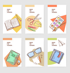 Hand drawn back to school cards brochure design vector