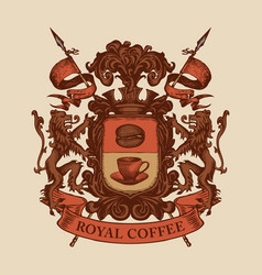 hand-drawn medieval coat arms on coffee vector image