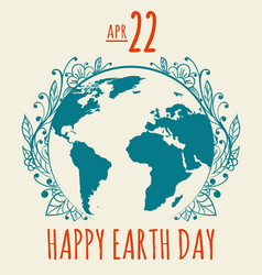 happy earth day poster in retro style vector image