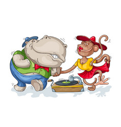 hippopotamus and monkey dancing vector image