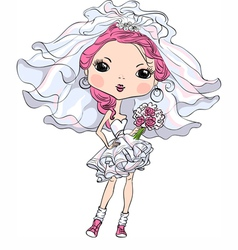 Hipster girl bride in her short wedding dress vector