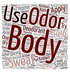 Home Remedies For Body Odor text background vector