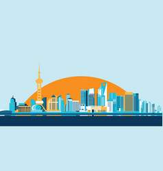 hong kong big city skyscrapers flat design vector image