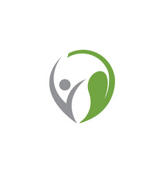 human and leaf wellness logo icon design template vector image