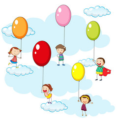 kids and colorful balloons in sky vector image vector image