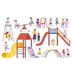 Kids playing at playground with ball jumping vector