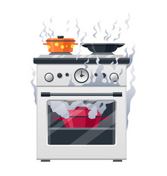 Kitchen stove cooker equipment and house vector