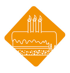 Label delicious pastel with candles to happy vector