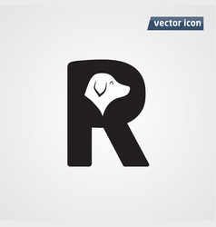 letter r with dog vector image
