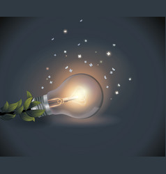light bulb with flying moths in the night vector image
